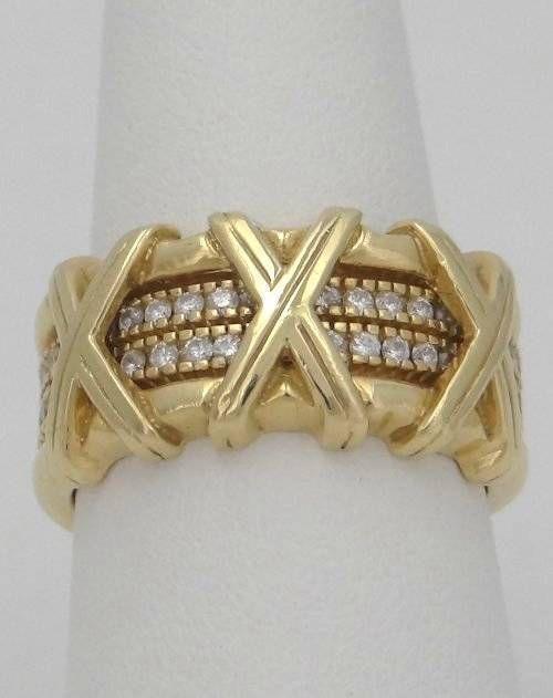 LADIES HIDAGLO 18K 750 GOLD .40ct DIAMOND X KISSES HIGH QUALITY HEAVY RING 11mm #Hidalgo #Band