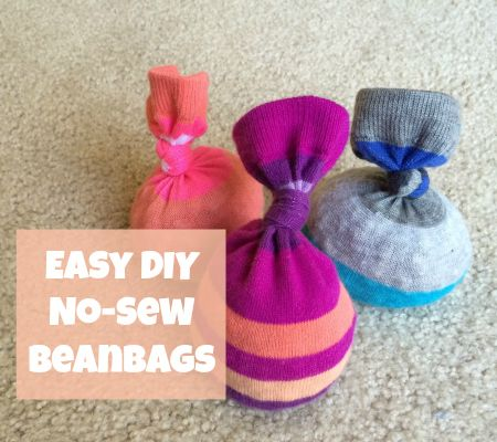 Using only two supplies and a couple of minutes, you can make your toddler incredibly easy no-sew bean bags that they'll love to play with.