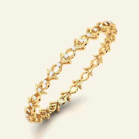 Cynthia diamond studded gold bangle