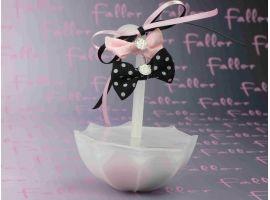 Dragées Baptême - Parapluie avec dragees de bapteme roses & noires