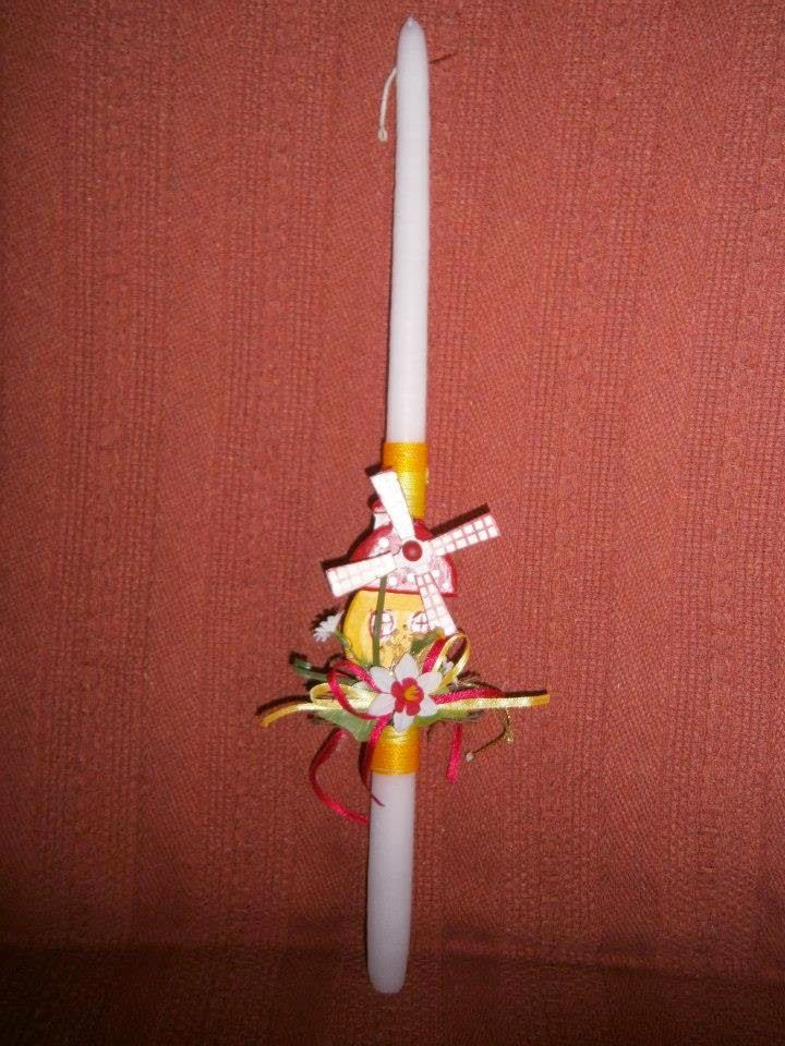 Lia B. Creations: Easter Candle code 034   This is a candle decorated with a little yellow mill.  It is suitable for both boys and girls :-)