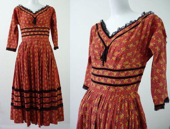 jaren 50 kleding  Vintage PRAIRIE PAISLEY door GarishVibeVintage