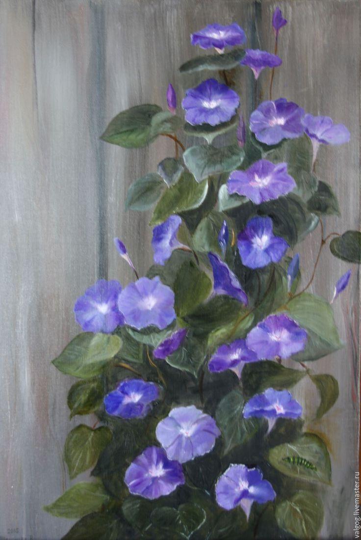 Oil painting | Купить Вьюнок Ипомея у забора - тёмно-синий, голубой, фиолетовый, сиреневый, зеленый, серый