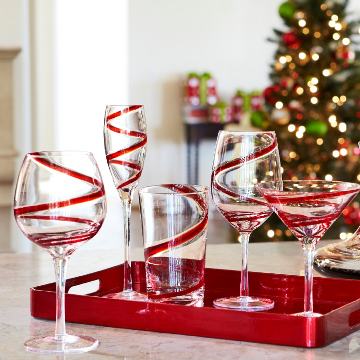 Red Kitchen Glassware: Red Striped Glassware For The Holidays.