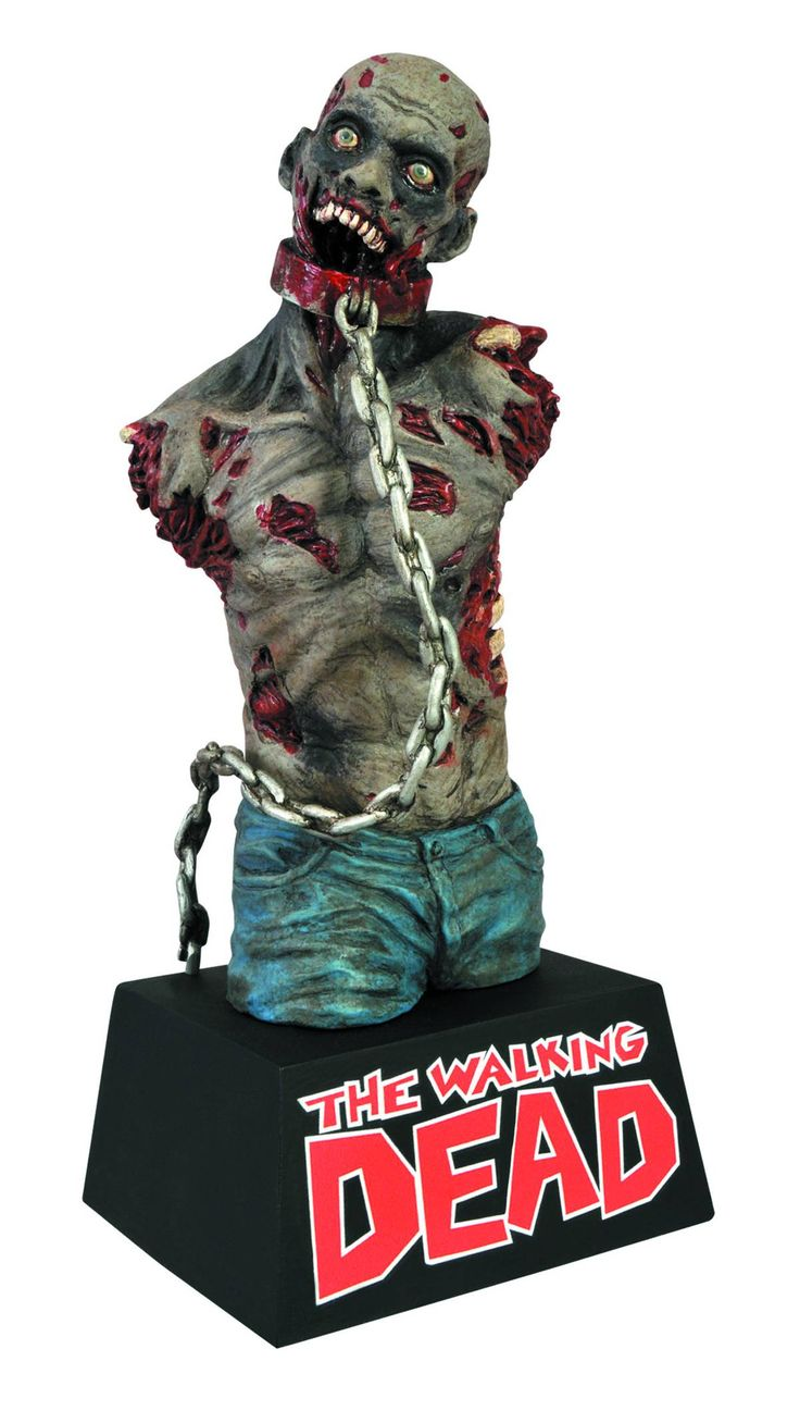 Based on one of Michonne's chained walkers, this zombie measure 8 inches tall atop the famous Walking Dead logo, and is crafted in durable vinyl with a slot in the back for your loose change. This bank features detailed sculpting and paint applications, making it not just a cool bank, but an amazing bust, as well!  (MAR131911).....$22.99