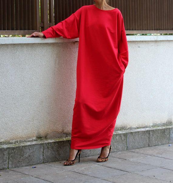 Red dress/ Long Dress/ Maxi Dress/ Long sleeve dress/ Maxi