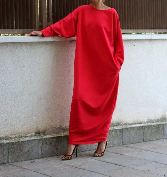 Red Maxi dress Caftan Plus size dress Fall by cherryblossomsdress