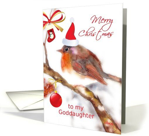 to my goddaughter merry christmas robin stocking glass ornament card