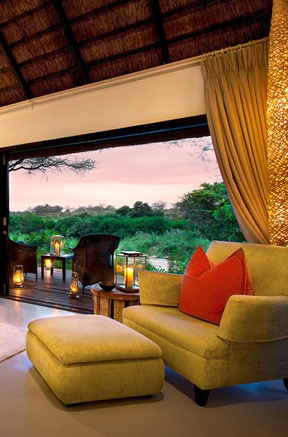 An interior of one of River Lodge's Luxury Rooms  #LionSands #RiverLodge #LuxuryLodge #LuxuryTravel #MOREplaces