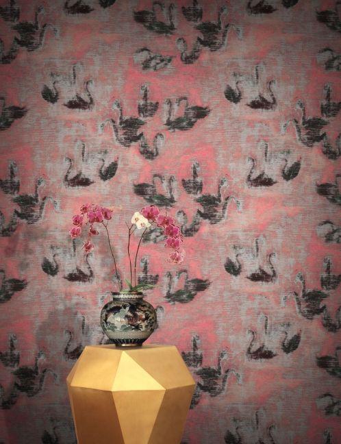 Swan Lake wallpaper in Rose by Hanna-Kaisa Korolainen