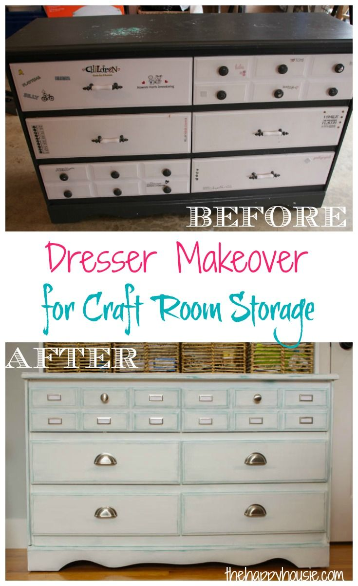 Wet chalk paint distress technique. Old Dresser Makeover for Craft Room Storage Before and After at thehappyhousie.com