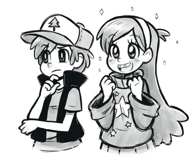 Dipper,Mabel. the style is so cute