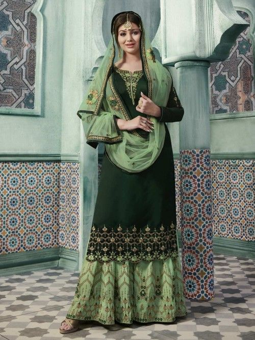 08b5ff4ae Ayesha takia green embroidered sharara suit online which is crafted from  georgette fabric with exclusive embroidery and stone work.