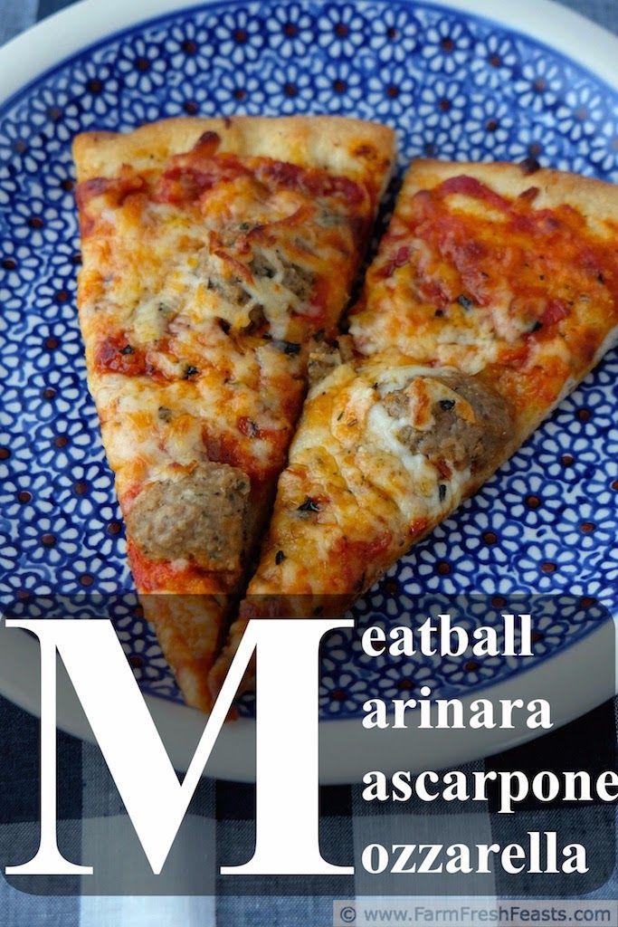 Meatball Marinara Mascarpone Pizza www.farmfreshfeasts.com