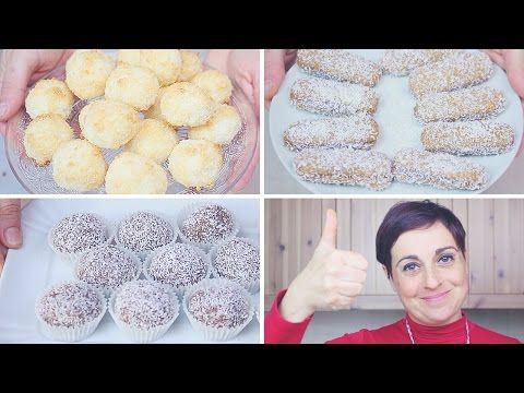 DOLCETTI AL COCCO 3 idee facili e veloci da fare con i BAMBINI - 3 quick and easy Coconut Treats - YouTube