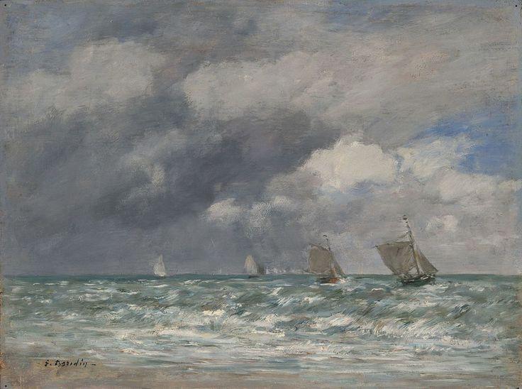 "Eugene Louis Boudin - ""Voiliers devant Trouville"" 1884, oil on panel, Yale University Art Gallery. Eugène Boudin - Wikipedia, the free encyclopedia"