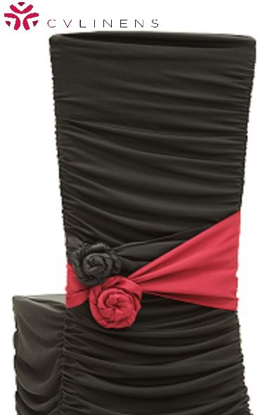 Ruched Fashion Spandex Banquet Chair Cover - Black ● As Low as $4.99 ● Available from www.cvlinens.com