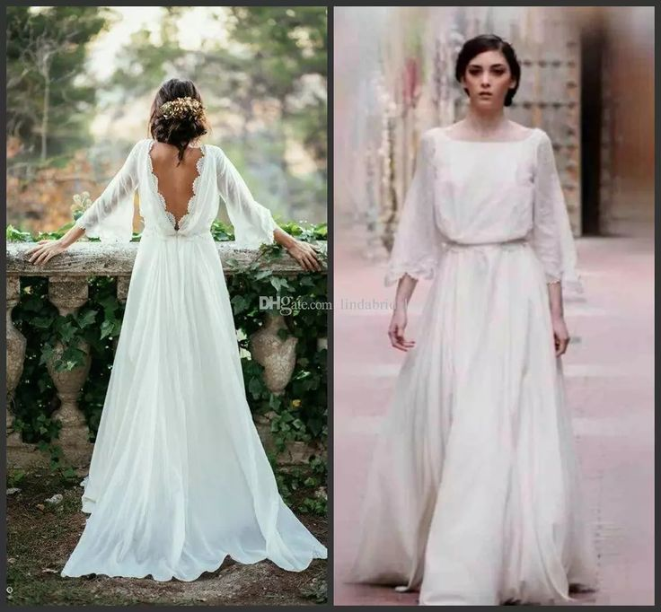 Sexy Ivory Lace 3/4 Long Sleeve Backless Bohemian Wedding Dresses 2017 Summer Court Train Ruoho Bridal Dress Chic Beach Country Bridal Gowns Unique Wedding Gown Wedding Dress Long Sleeves From Lindabridal, $89.45| Dhgate.Com
