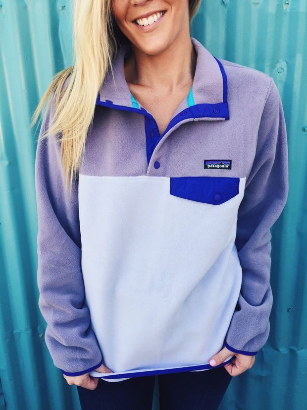 Patagonia Women#39;s Lightweight Synchilla Snap-T Pullover- Tundra Purple Just ordered one of my - Women's Hiking Clothing - http://amzn.to/2h7hHz9