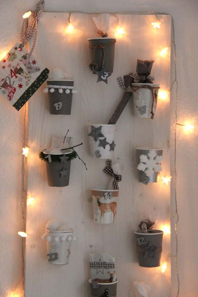 adventskalender selber basteln hier aus pappbechern und recyclingmaterial advent pinterest. Black Bedroom Furniture Sets. Home Design Ideas