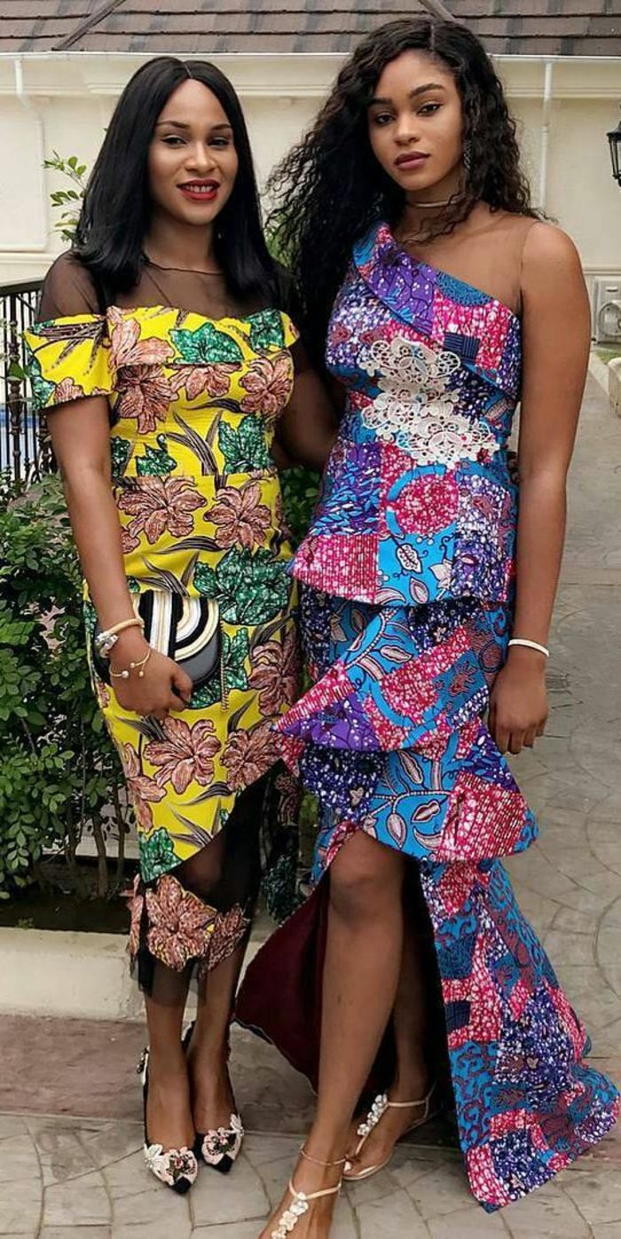 Amazing two girls with dresses in African style, African dress with ruffles, vetem …
