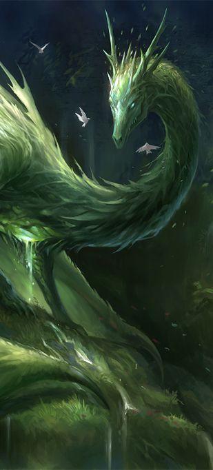 Green Crystal Dragon by sandara on DeviantArt (detail)