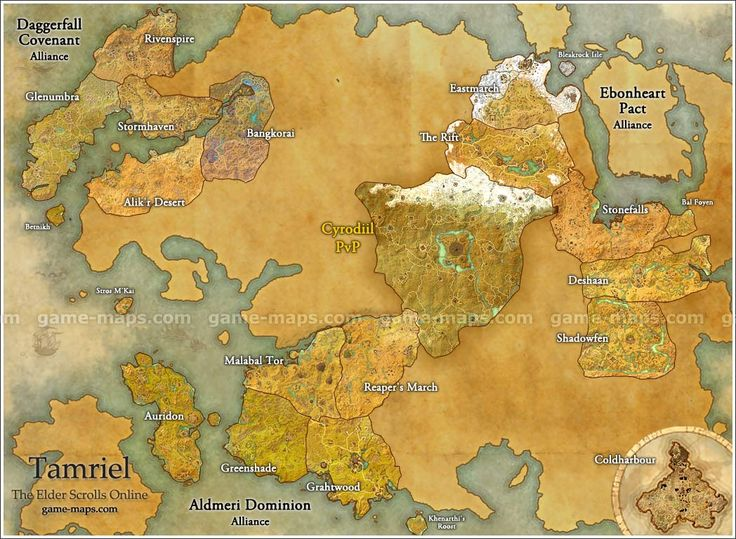 Map of Tamriel for The Elder Scrolls Online Video Game.