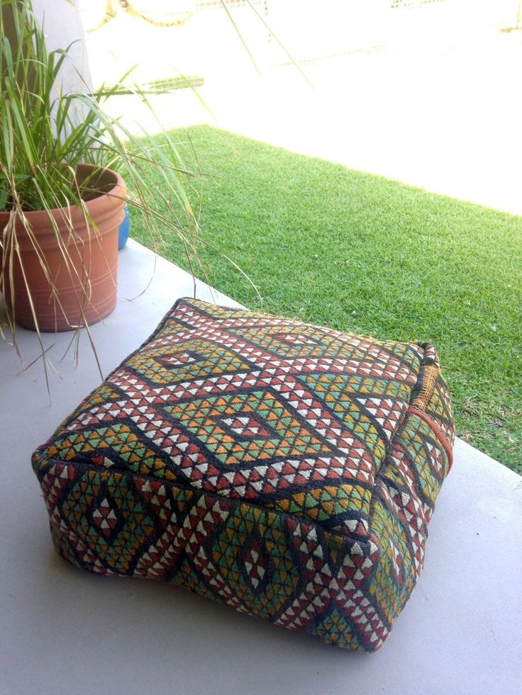 Authentic Moroccan Kilim Carpet Pouf by Avoka on Etsy