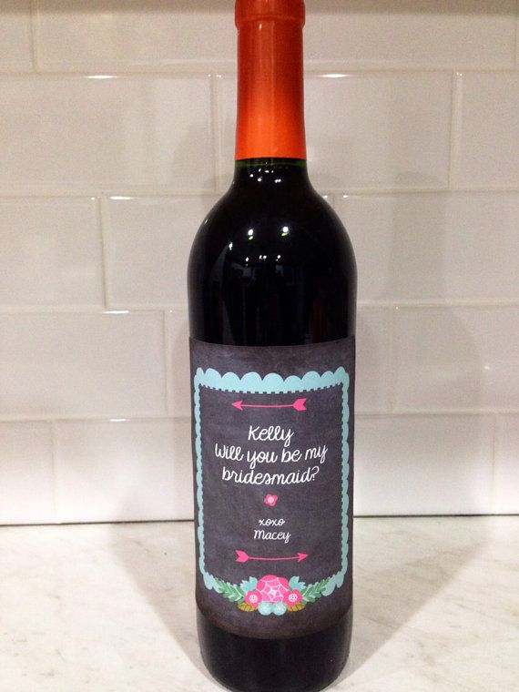 will you be my bridesmaid wine bottle label by VintageLeeCrafted