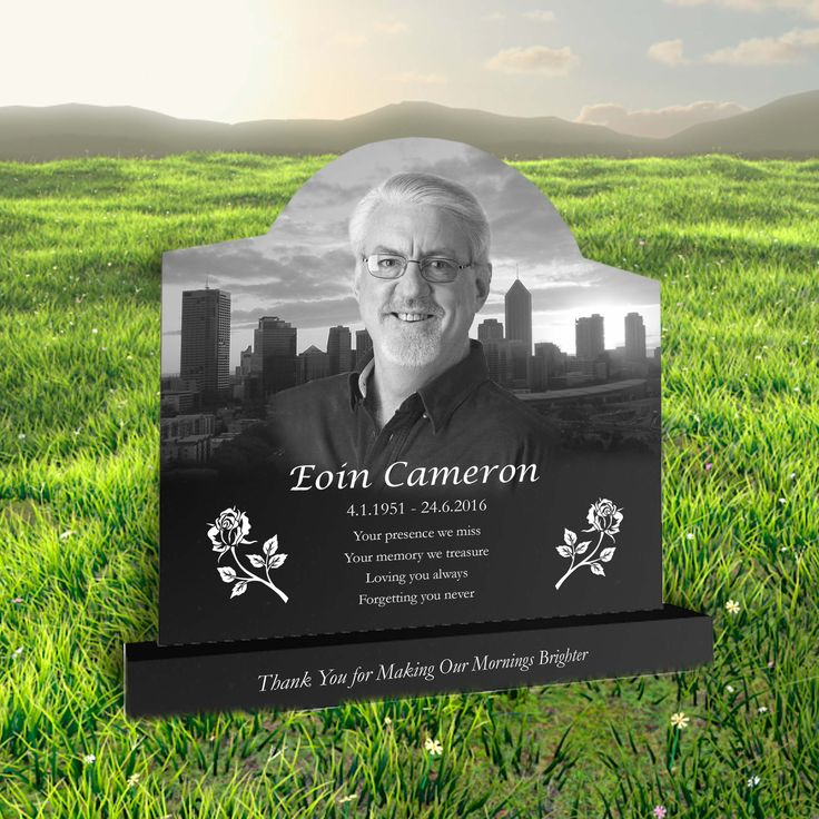 Eoin Cameron laser etched black granite headstone designed by Forever Shining. Design a headstone online - visit our website