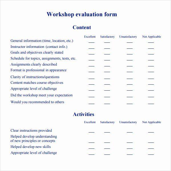 Workshop Evaluation Form Template Evaluation Form Training