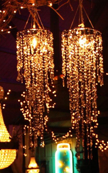 i want one, or two....so prettyDecor, Crystals Chand, Crystal Chandeliers, Bridal Shower Ideas, New Bedrooms, Silver Spangled, Spangled Chandeliers, Junk Gypsy, Parties Lights