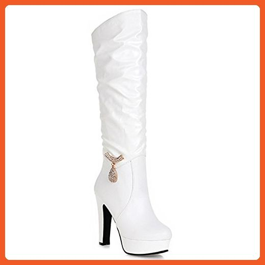 Women's Trendy Comfy PU Leather Rhinestone Winter Snow Heavy Thick Long Plush Lining Warm Thigh High Boots Sexy Slip on Chunky Heel Over The Knee Boots (9 US 40 EU, White) - Boots for women (*Amazon Partner-Link)