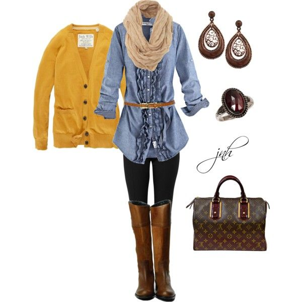 chambray top and mustard cardi: Mustard Cardigans Denim Shirts, Casual Work, Fall Colors, Design Clothing, Fall Favorite, Chambray Shirts, Fall Winter, Cardigans Sweaters, The Cardigans