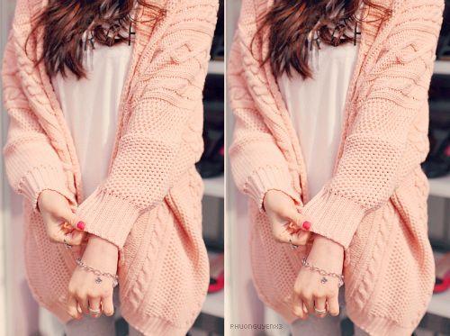 soft pink cardigan :3: