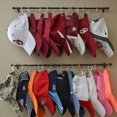 Organization HANGING HAT RACKS....this is BRILLIANT!  My boys have a ton of hats & this is such a great idea! Featured on our Best Home Organization Ideas!  http://kitchenfunwithmy3sons.com/2016/02/the-best-diy-home-tips-and-organizing-hacks-and-tips.html/