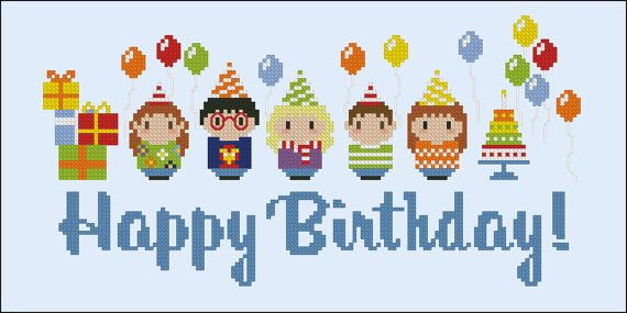 Happy Brithday Party  PDF cross stitch pattern por cloudsfactory