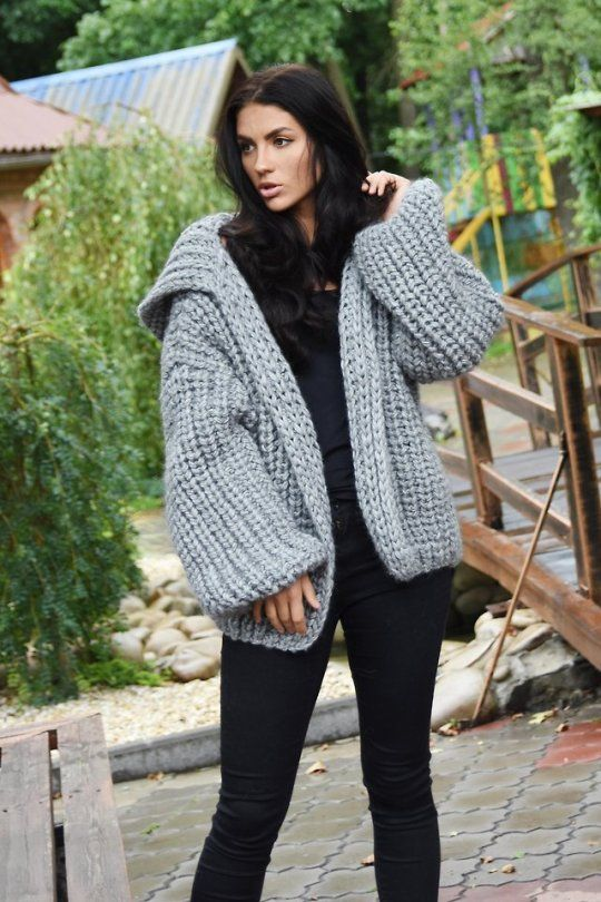 25a66a2d Chunky Sweaters, Women's Sweaters, Cardigans, Grey Cardigan, Knit Cardigan,  Mohair Sweater