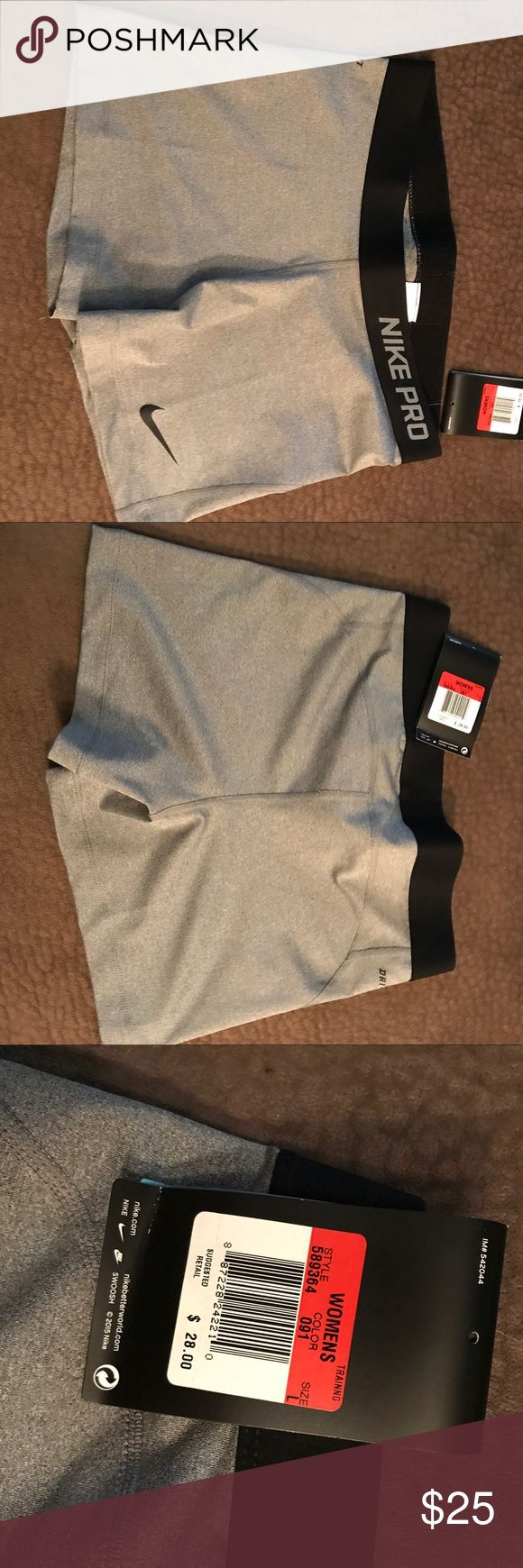 Nike compression shorts Grey with black band. BNWT. Never worn. Nike Shorts