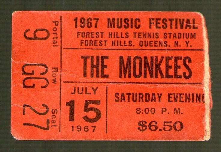 THE MONKEES / JIMI HENDRIX 7-15-1967 Concert Ticket Stub - Forest Hills, NY   eBay - $25,000.00