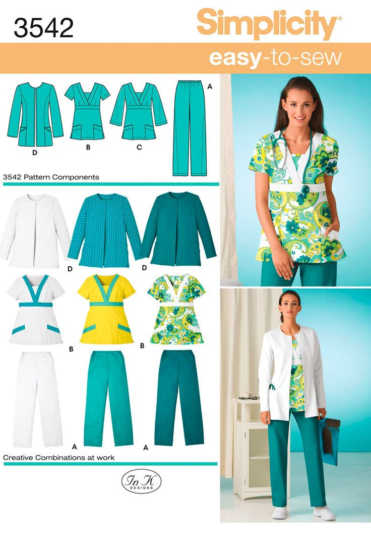 Misses or Plus Size Scrubs sewing pattern 3542 Simplicity