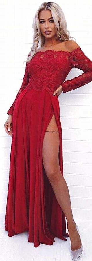 modest dark red off the shoulder prom dresses with sleeves, simple long sleeves party dresses with lace, elegant chiffon evening gowns with slit #promdress #reddress #offtheshoulder