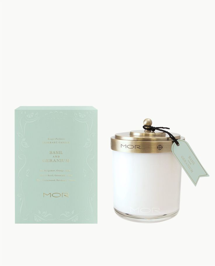 MOR | Scented Home Library | Fragrant Candle | Basil and Geranium