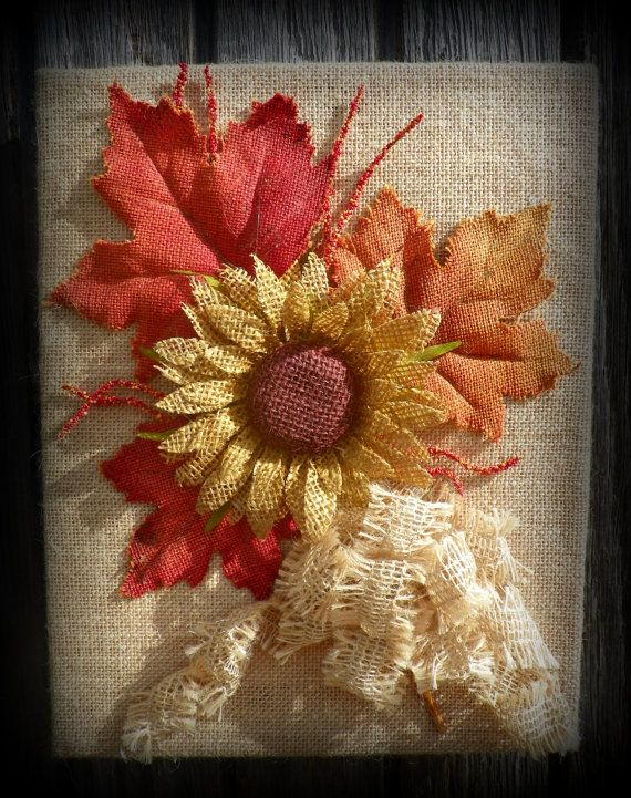 Burlap Covered Canvas with Sunflower by MeMaandCo on Etsy, $25.00