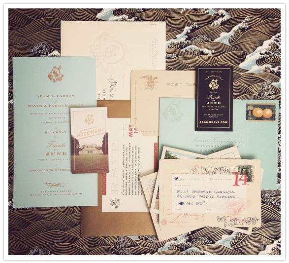 Gorgeous invitation suite with vintage postcards as rsvp cards.