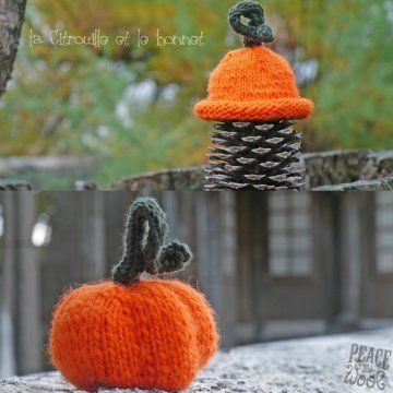 Tuto tricot bonnet en laine orange cousue en citrouille pour halloween