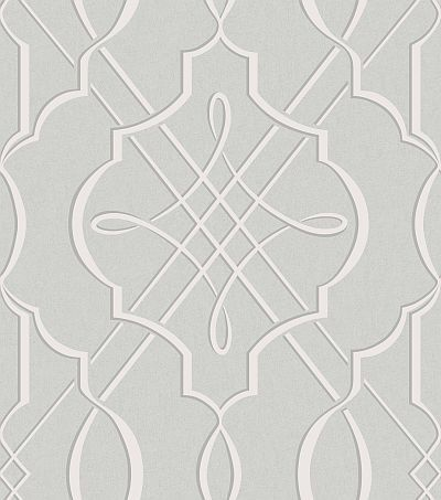 Concetta (33940) - Albany Wallpapers - A bold symmetrical heraldic motif in an all over repeat, on a crushed velvet effect textured background. Shown in the pale dove grey. Vinyl. Please request sample for true colour match.