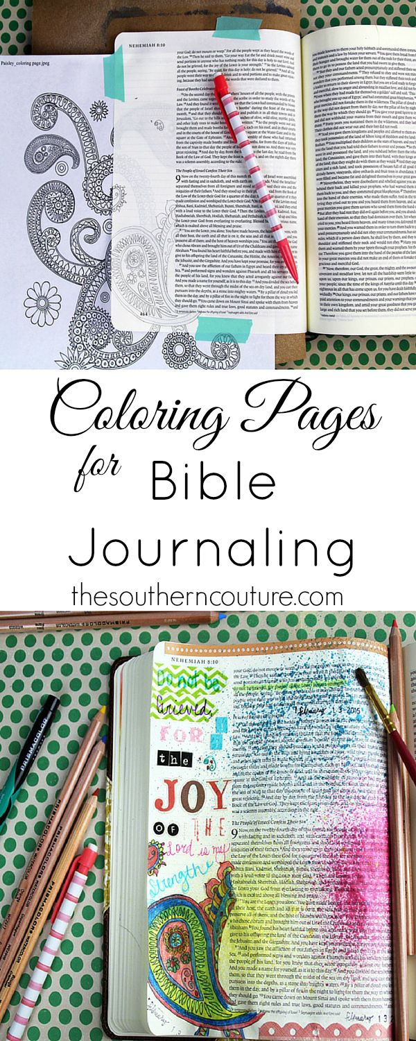 You don't have to be an artist to enjoy Bible journaling. Use coloring pages that are so popular right now and trace them onto your pages. Find out how to make this same entry with the help of @michaelsstores at thesoutherncouture.com.