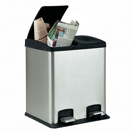 Tesco direct: Stainless Steel 24L 2 Section Recycling Pedal Bin