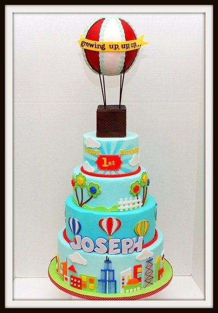 Hot Air Balloon First Birthday Cake - by CakesbyBellina @ CakesDecor.com - cake decorating website